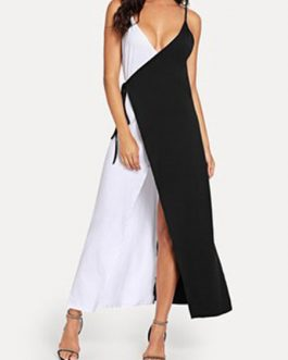 Two Tone Split Maxi Beach Dress