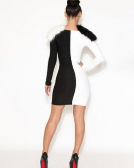 Two Tone Stretchy Sexy Bodycon Dress