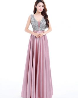 V Neck A Line Sleeveless Floor Length Satin Tulle Beaded Party Prom Dresses