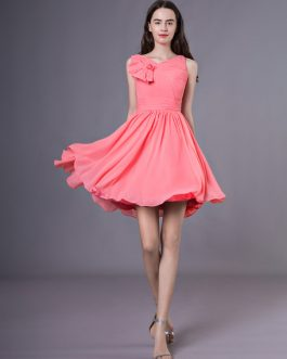 V-Neck Beading Chiffon Pretty Bridesmaid Dress