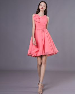 V-Neck Beading Chiffon Pretty Bridesmaid Dress