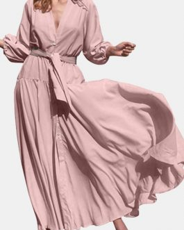 V-Neck High Waist Long Sleeve Pleated Casual Elegant Maxi Dress