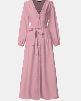 V-Neck High Waist Long Sleeve Pleated Casual Elegant Maxi Dress
