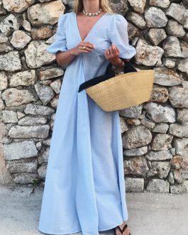 V-Neck Holiday Beach Sundress A-Line Pleated Maxi Dress