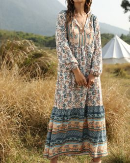 V Neck Long Sleeves Floral Print Maxi Dress