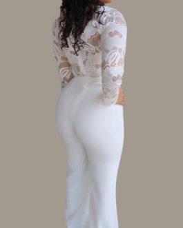 V Neck Long Sleeves Lace Wide Leg Jumpsuit