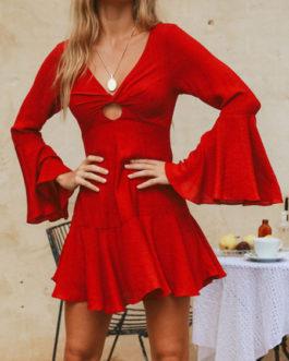 V-Neck Long Sleeves Short Beach Mini Dress