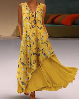 V-Neck Polyester Sleeveless Long Beach Maxi Dress