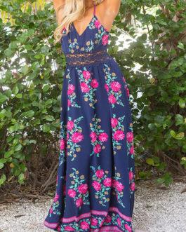 V-Neck Sleeveless Floral Print Long Dress