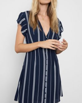V Neck Stripes Buttons Up Beach Mini Dress