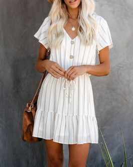 V Neck Stripes Short Beach Mini Dress