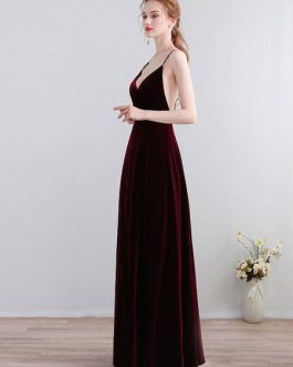 Velour V Neck A Line Sleeveless Backcross Pleated Split Formal Party Prom Dresses