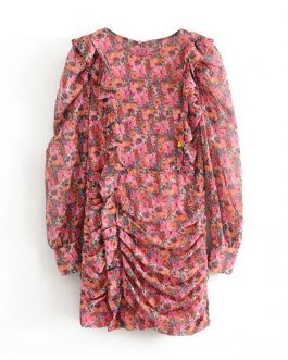 Vintage Floral Print O Neck Ruffle Mini Dress