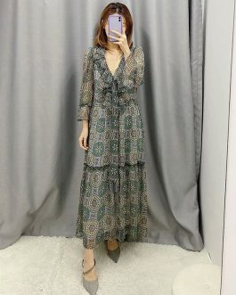 Vintage Floral Print Three Quarter Sleeve Casual Long Dress
