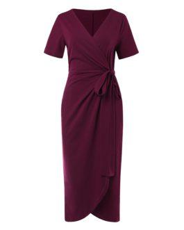 Waist Tie V Neck Short Sleeve Casual Wrapped Long Maxi Dress