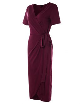 Waist Tie V Neck Short Sleeve Casual Wrapped Long Maxi Dress