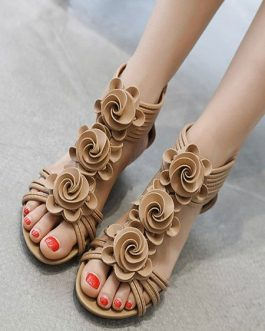 Wedge Sandals Flowers Bohemian T-Type Bandage Open Toe Beach Sandals
