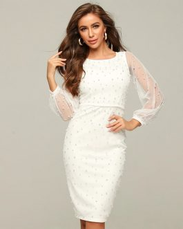 Sexy Puff Sleeve Pearl Party Club Dress