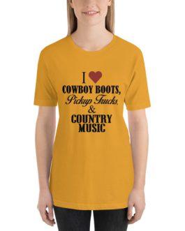 I heart cowboy boots Unisex Short Sleeve T-shirt