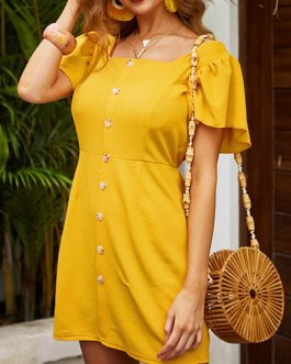 Square Neck Cotton Blend Beach Dress