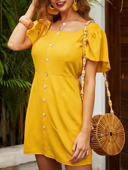 Square Neck Cotton Blend Beach Dress