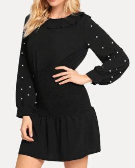 Jewel Neck Polyester Beach Dress