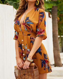 V Neck Printed Polyester Beach Dress