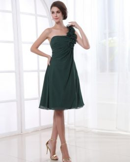 A-line Flower Chiffon Knee-Length Bridesmaid Dress with One-Shoulder