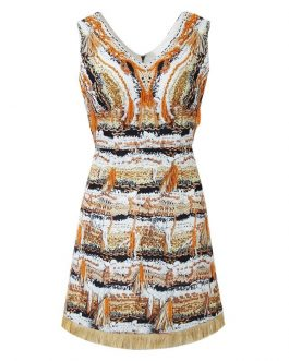 Abstract art print Tassel Beading Sleeveless Vintage Mini dress