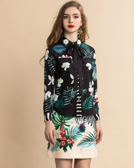 Animal Floral Print Blouse and Mini Skirt Two Pieces Set Suit