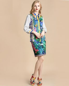 Animal Flower Print blouses and Skirt Two Pieces Set Suits