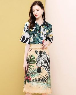 Animal Jungle Print Top and Vintage Mini Skirts Suit