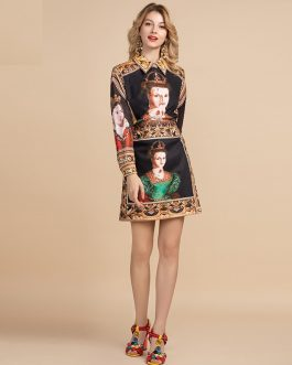 Fashion Designer Elegant Art Character Print Mini Skirt Suit