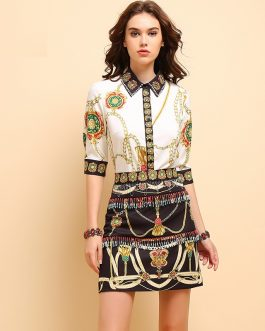 Fashion Printed Shirt high waist Skirt Two Pieces Set
