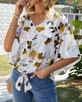 Blouse Printed Knotted V Neck Half Sleeves Tops