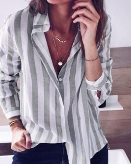 Blouse Stripes Turndown Collar Casual Tops