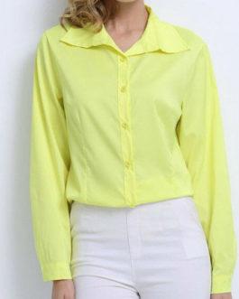 Blouse Turndown Collar Casual Long Sleeves Tops