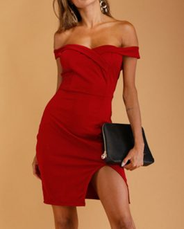 Bodycon Off The Shoulder Slit Sheath Dress