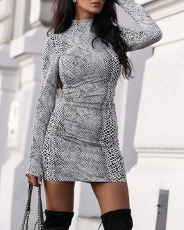 Bodycon Printed Long Sleeves Sexy Jewel Neck Midi Sheath Dress