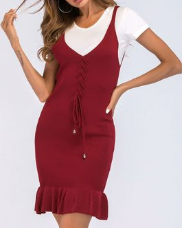 Bodycon Straps Neck Knotted Casual Sleeveless Pencil Dress