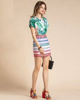 Bohemian Floral Print Top and Luxury Beading Skirts Set