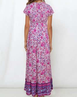 Bohemian Short Sleeves V Neck Floral Maxi Dresses