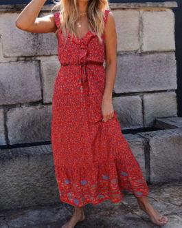 Bohemian Sleeveless Floral Print Maxi Dresses