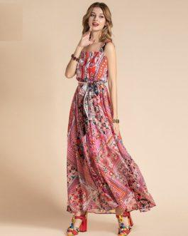Bohemian Spaghetti Strap Floral Print A Line Chiffon Dress