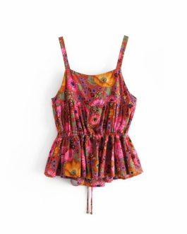 Bohemian vest short bow boho camis ruffles crop tops