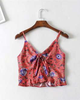 Bohemian vest short bow camis ruffles crop tops