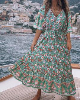 Boho Floral Print V Neck Maxi Dresses