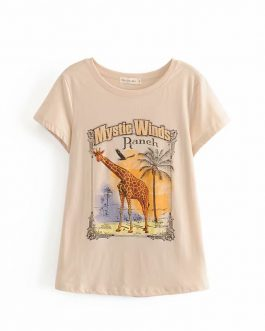 Boho chic animal print Short sleeve Cotton T-Shirt