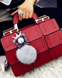 Boston Bag with Fur and Crown Dangle