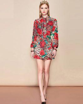 Leopard Floral Print Sexy Elegant Mini Skirt Suit